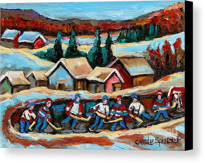 Pond Hockey Canvas Print featuring the painting Pond Hockey 2 by Carole Spandau