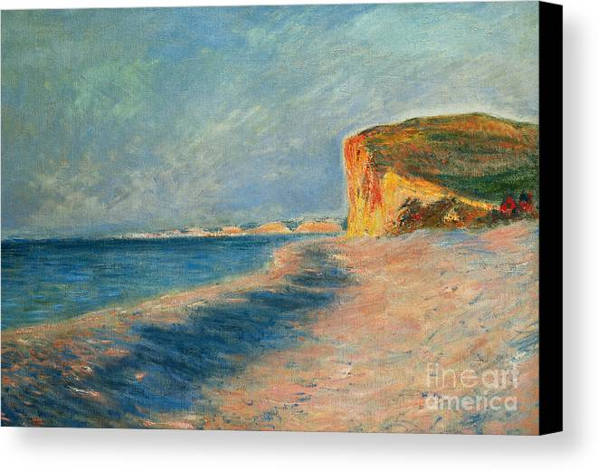 Outdoor; Outdoors; Outside; Painting; Peace; Peaceful; Perspective; Picturesque; Positive Concepts; Pourville; Pourville Pres De Dieppe; Quiet; Receding View; Rock; Sea; Seine Maritime; Shore; Shoreline; Sky; Still; Sun; Sunlight; Sunny; Tide; Time Of Day; Tranquil; Tranquility; Water; Waves Canvas Print featuring the painting Pourville Near Dieppe by Claude Monet
