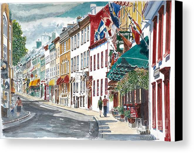 Quebec Old City Canada Canvas Print featuring the painting Quebec Old City Canada by Anthony Butera