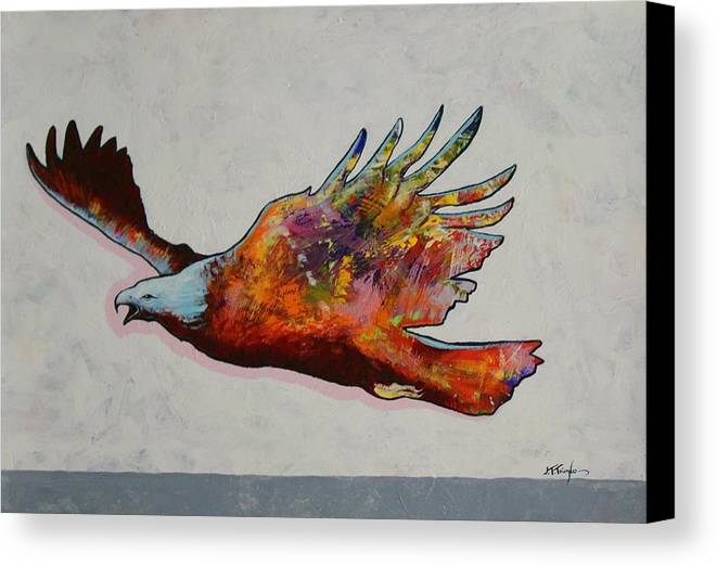Wildlife Canvas Print featuring the painting Rainbow Warrior Flying Eagle by Joe Triano