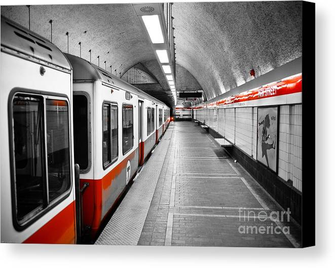 Red Canvas Print featuring the photograph Red Line by Charles Dobbs