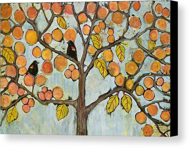 Fantasy Canvas Print featuring the painting Red Winged Black Birds In A Tree by Blenda Studio