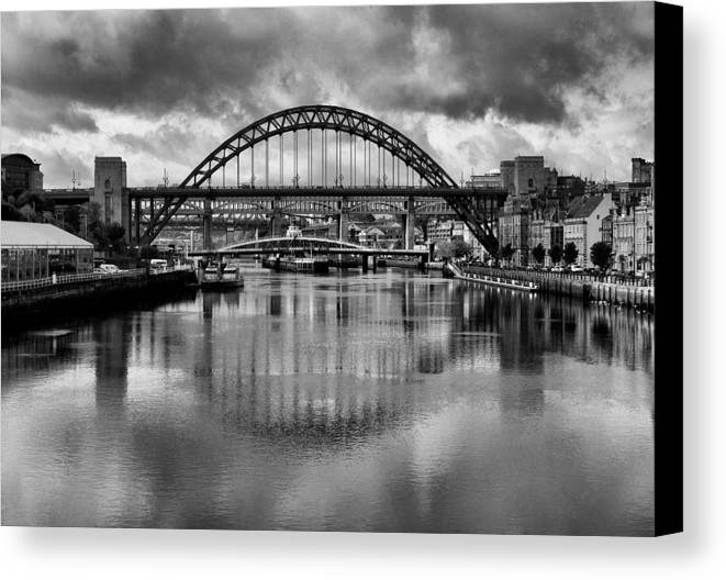 Newcastle Canvas Canvas Print featuring the photograph River Tyne Bridges by Trevor Kersley