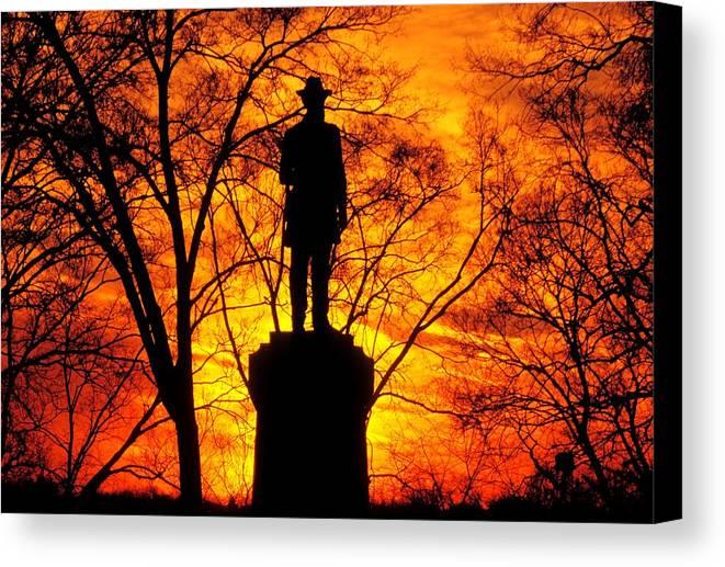 Civil War Canvas Print featuring the photograph Sky Fire - Flames Of Battle 50th Pennsylvania Volunteer Infantry-a1 Sunset Antietam by Michael Mazaika