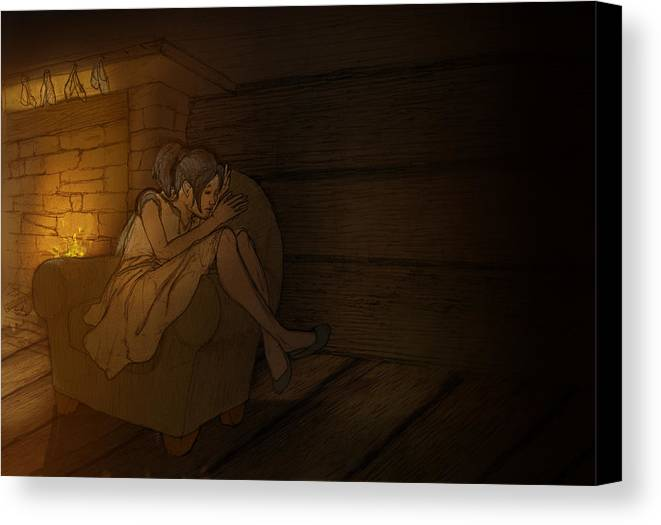 Illustration Canvas Print featuring the digital art Sleeping By The Fireside by Gareth Bennett