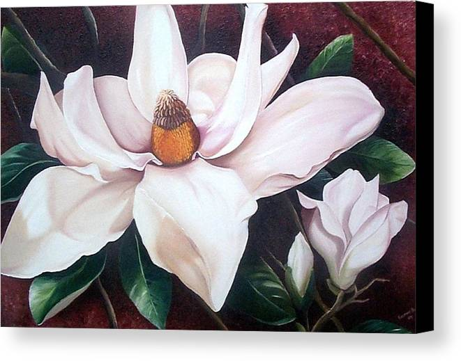 Magnolia Southern Bloom Floral Botanical White Canvas Print featuring the painting Southern Beauty by Karin Dawn Kelshall- Best