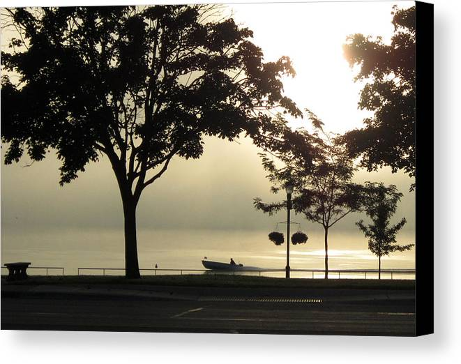 Fog Canvas Print featuring the photograph St. Clair Sunrise With Fog by Mary Bedy