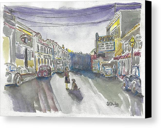 Landscape Canvas Print featuring the painting Street Scene - Capitol Theatre by Shirley Stirling