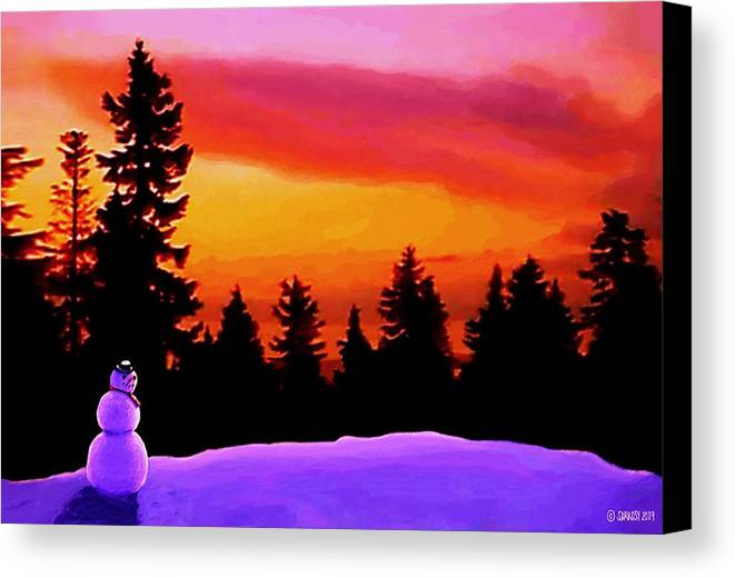 Landscape Canvas Print featuring the painting Sun Setting On Snow by Sophia Schmierer
