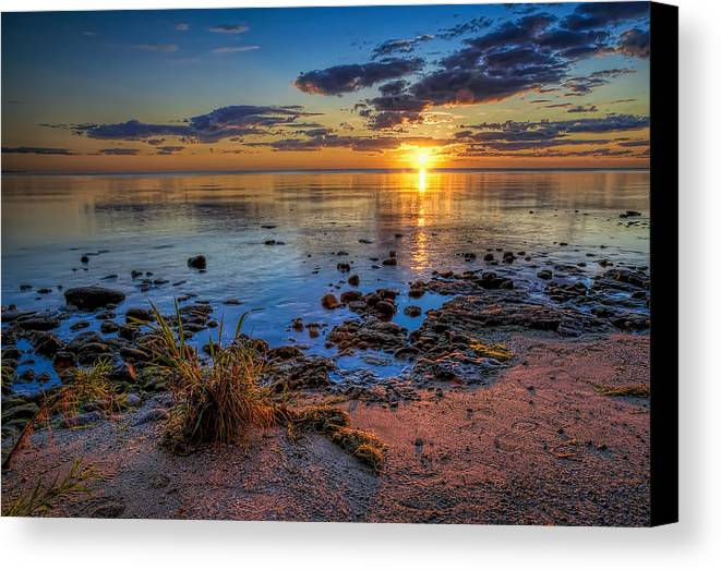 Sun Canvas Print featuring the photograph Sunrise Over Lake Michigan by Scott Norris