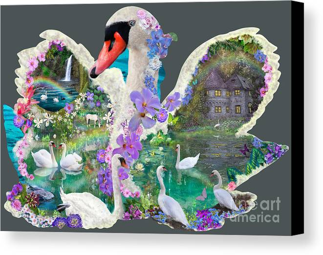 Swan Canvas Print featuring the digital art Swan Day Dream by Alixandra Mullins