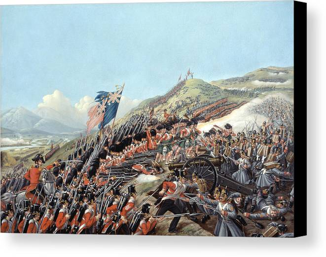Busbys Canvas Print featuring the painting The Battle Of Alma On 20th September by Edmund Walker