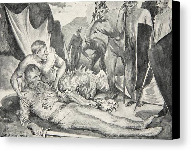 Beowulf Canvas Print featuring the drawing The Death Of Beowulf by John Henry Frederick Bacon