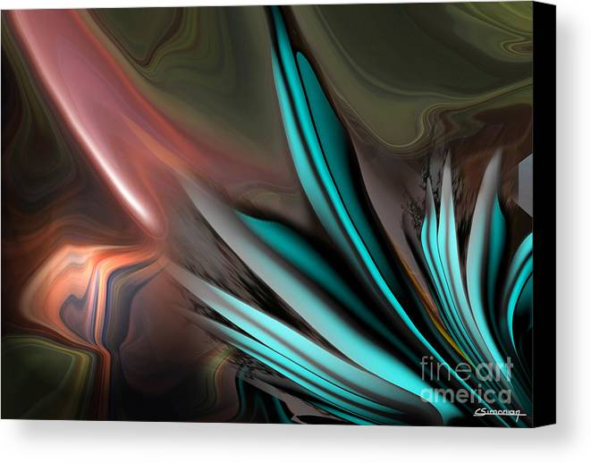 Feathers Canvas Print featuring the painting The Feathers Of The Black Angel by Christian Simonian