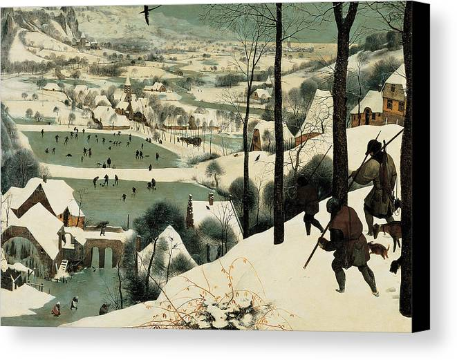 Winter Canvas Print featuring the painting The Hunters In The Snow by Jan the Elder Brueghel