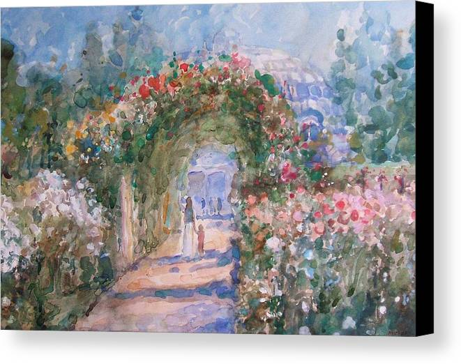Garden Canvas Print featuring the painting The Rose Garden by Malcolm Mason