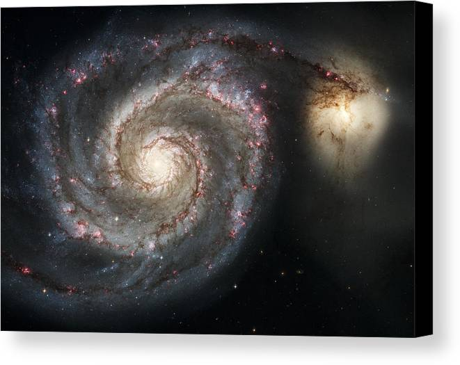 3scape Photos Canvas Print featuring the photograph The Whirlpool Galaxy M51 And Companion by Adam Romanowicz