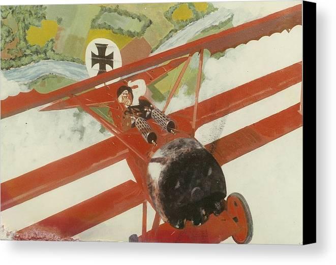 Ww1 German Triplane Canvas Print featuring the painting Triplane by Richard La Motte