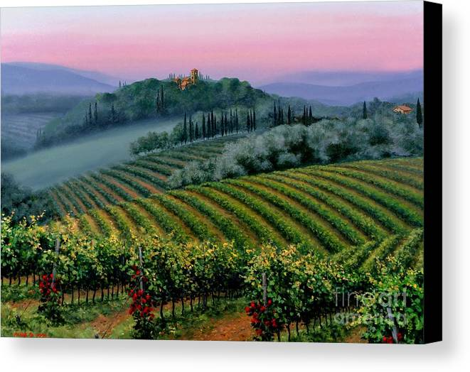 Tuscan Sunset Canvas Print featuring the painting Tuscan Dusk by Michael Swanson