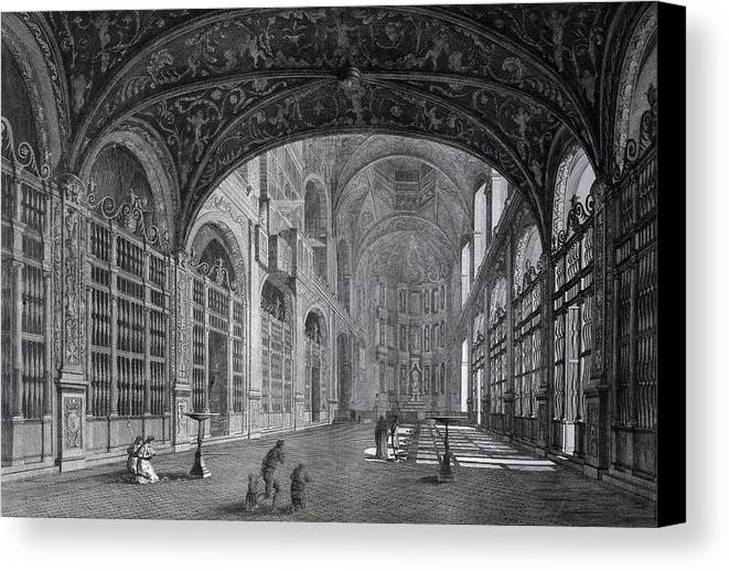Horizontal Canvas Print featuring the photograph View Of The Interior Part Of The Church by Everett