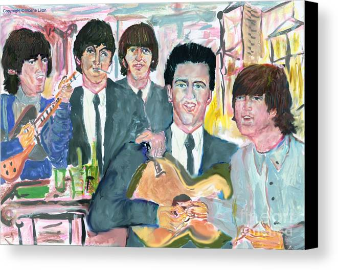 Beatles Life Music Canvas Print featuring the digital art Visiting Elvis 1965 by Moshe Liron