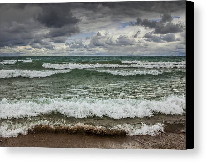Sturgeon Bay Canvas Print featuring the photograph Waves Crashing On The Shore In Sturgeon Bay At Wilderness State Park by Randall Nyhof