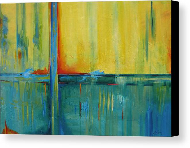 Abstract Canvas Print featuring the painting Weathered by Lynne Summers