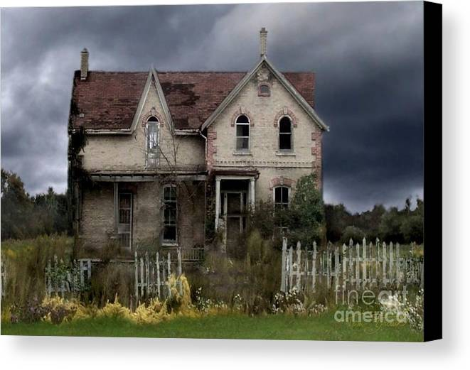 Haunted House Canvas Print featuring the photograph White Picket Fence by Tom Straub