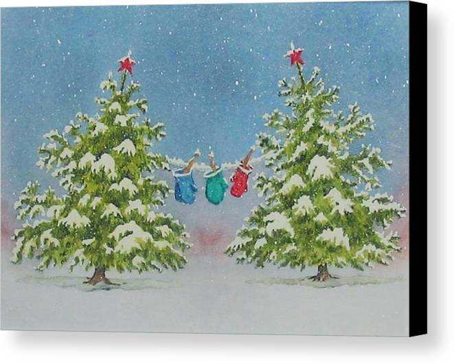 Fun Canvas Print featuring the painting Winter Is Fun by Mary Ellen Mueller Legault