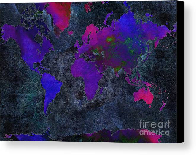Andee Design Map Canvas Print featuring the digital art World Map - Purple Flip The Dark Night - Abstract - Digital Painting 2 by Andee Design