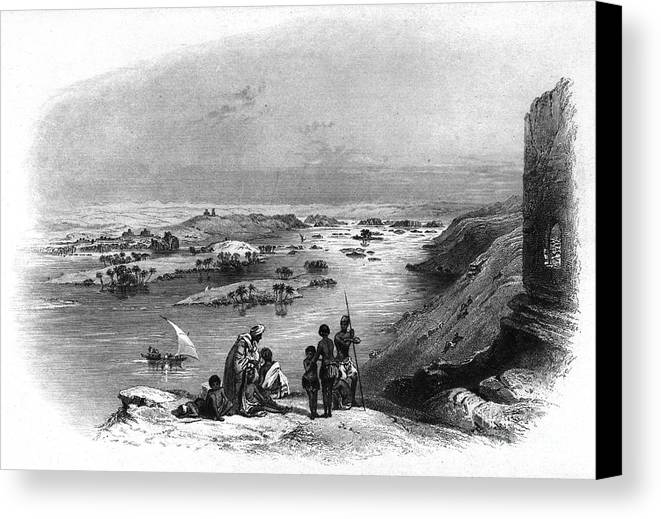 1849 Canvas Print featuring the photograph Egypt: Nile Scene by Granger