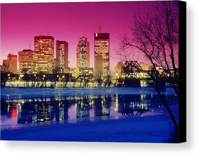 City Canvas Print featuring the photograph Red River And Downtown Winnipeg by Dave Reede