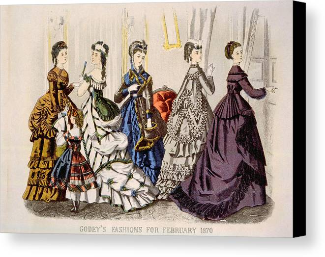 1870s Fashion Canvas Print featuring the photograph Womens Fashions From Godeys Ladys Book by Everett