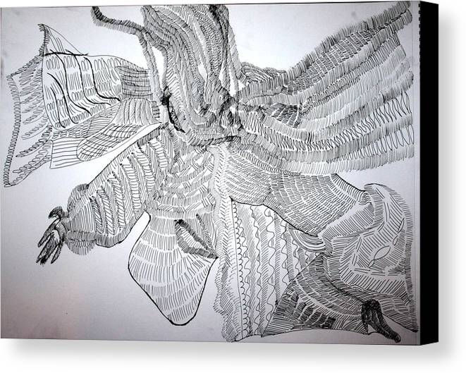 Jesus Canvas Print featuring the drawing Adowa Dance From Ghana by Gloria Ssali