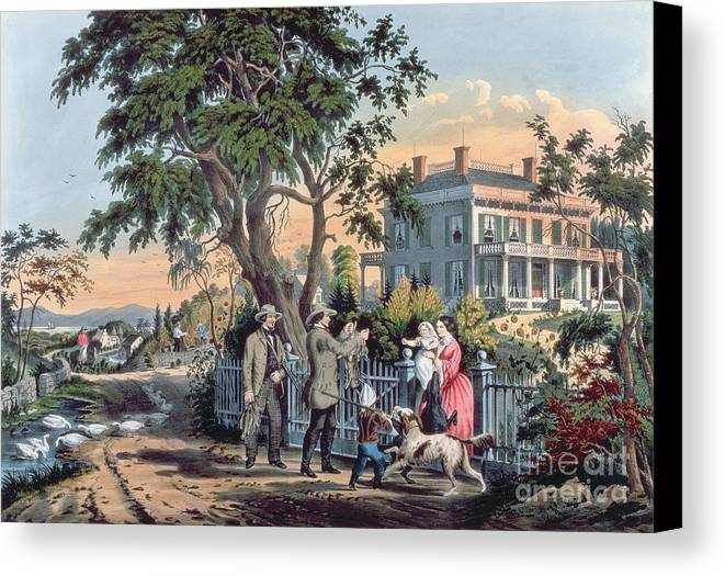 After The Hunt Canvas Print featuring the painting After The Hunt by Currier and Ives