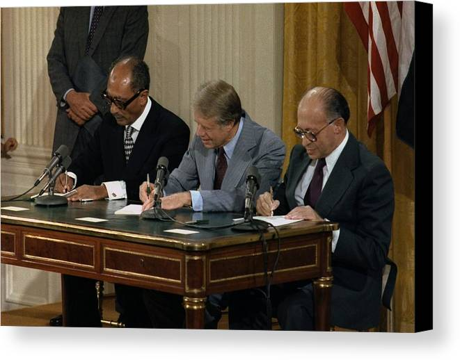 History Canvas Print featuring the photograph Anwar Sadat Jimmy Carter And Menahem by Everett