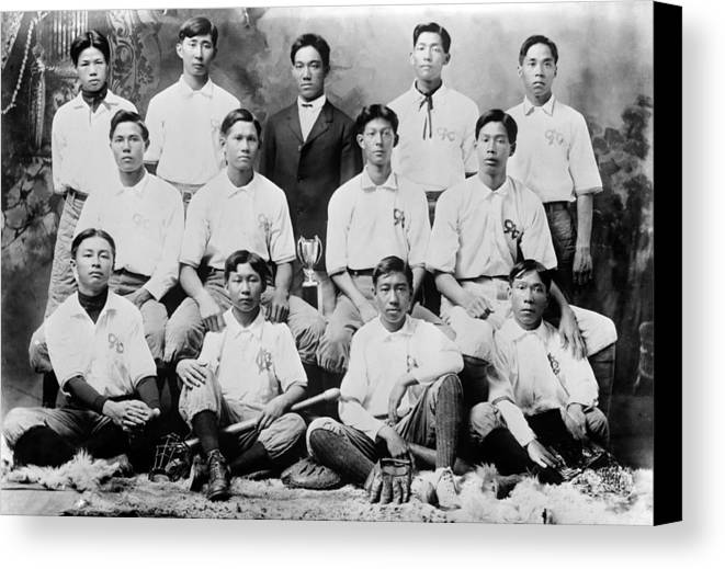 1910s Canvas Print featuring the photograph Baseball. Chinese-american Baseball by Everett