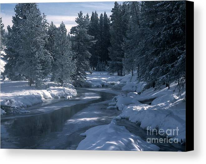 Yellowstone National Park Canvas Print featuring the photograph Firehole River In Yellowstone by Sandra Bronstein