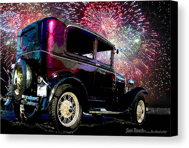 Car Canvas Print featuring the painting Fireworks In The Ford by Suni Roveto