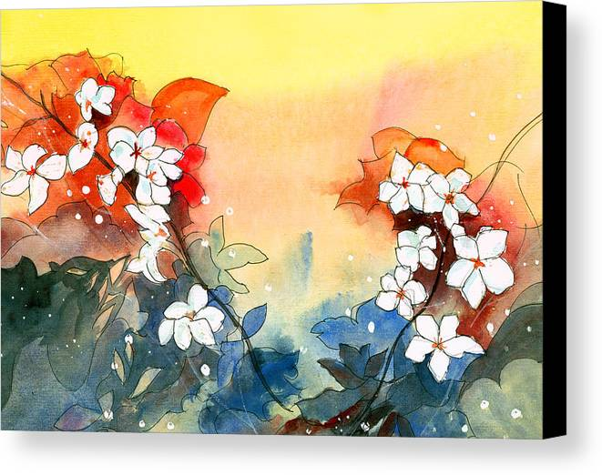 House Canvas Print featuring the painting Floral Neklace by Anil Nene