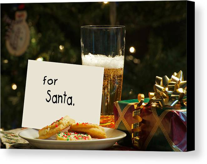 Alcohol Canvas Print featuring the photograph For Santa. by Kelly Nelson