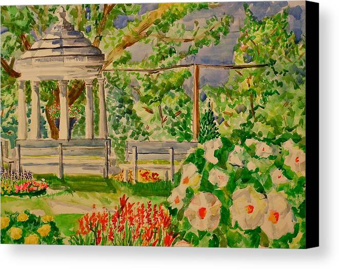 Gazebo Canvas Print featuring the painting Gazebo by Jame Hayes