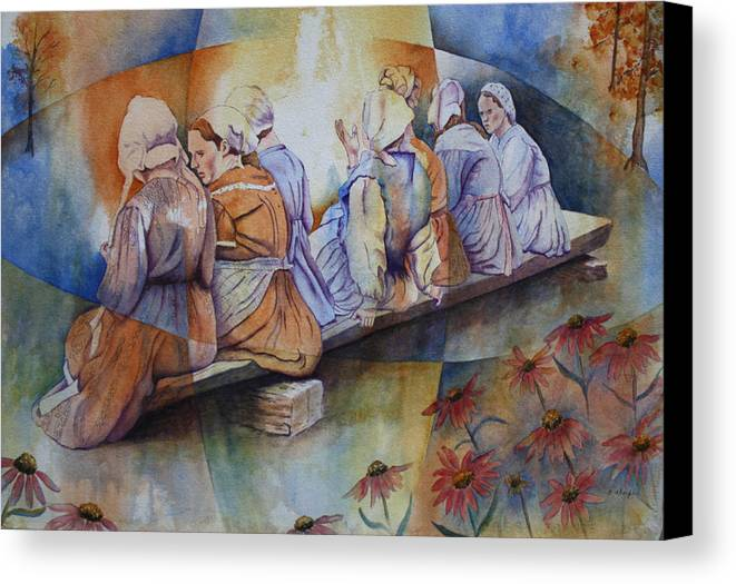 Costumed Figures In Landscape Canvas Print featuring the painting Gossip Bench by Patsy Sharpe