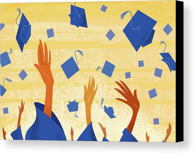 Horizontal Canvas Print featuring the digital art Graduates Throwing Graduation Hats by Harry Briggs
