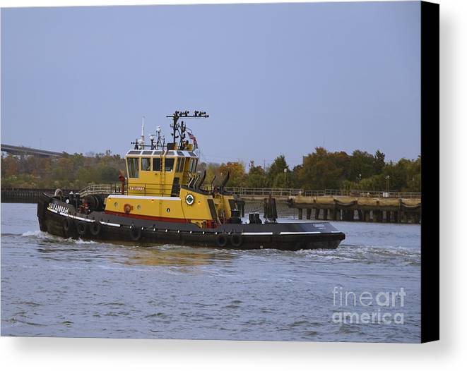 Harbor Canvas Print featuring the photograph Harbor Tug Savannah by Tim Mulina