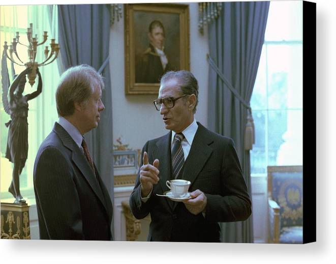 History Canvas Print featuring the photograph Jimmy Carter And The Shah Of Iran Talk by Everett