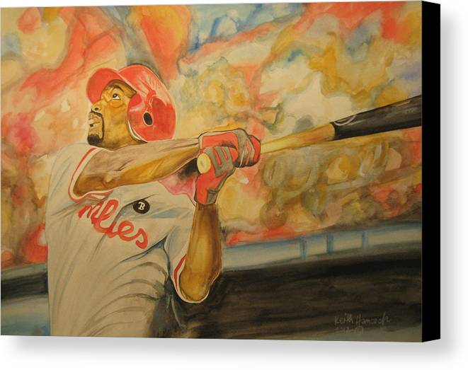 Baseball Canvas Print featuring the painting Jimmy Rollins by Keith Hancock