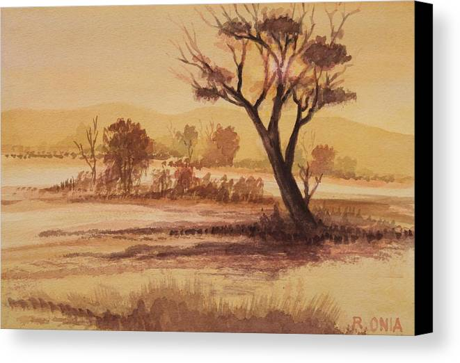 Landscape Canvas Print featuring the painting Lonesome 2 by Remegio Onia