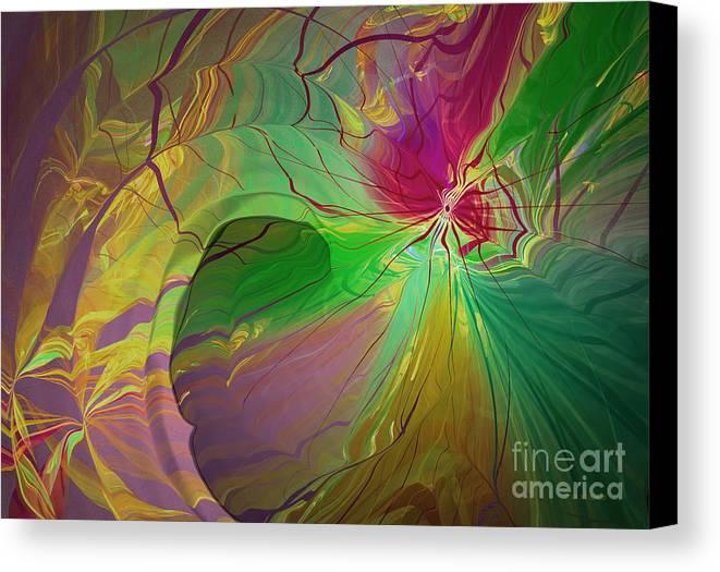 Abstract Canvas Print featuring the digital art Multi Colored Rainbow by Deborah Benoit