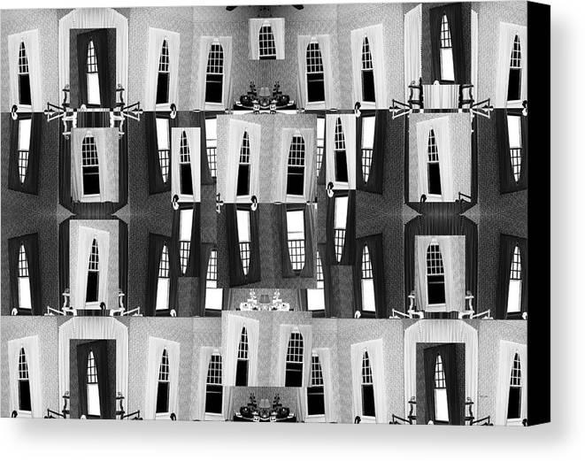 Black Canvas Print featuring the digital art My Windows by Betsy Knapp